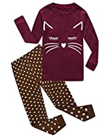 Cat Little Girls Long Sleeve Pajamas Sets 100% Cotton Sleepwears Toddler Kids Pjs Size 4T