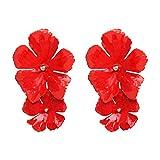 WFZ17 Pendientes colgantes de doble capa con diseño de flores, para mujeres y niñas, color rojo