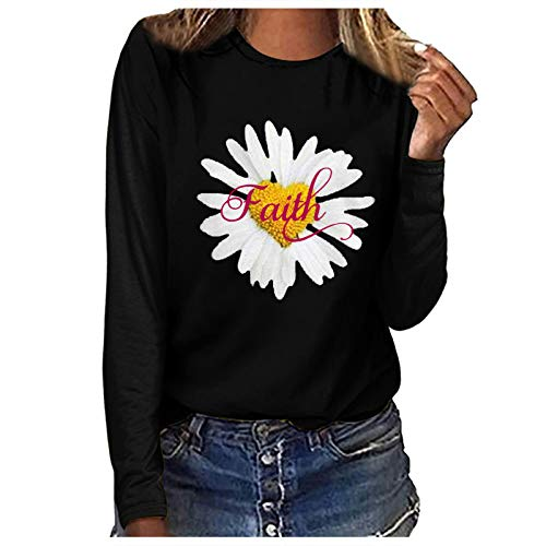 Women's Pullover Fashion Daisy Graphic Printed Tops Casual Long Sleeve Crew Neck Faith T-Shirt Club Party Personalised Tee Shirts Flower Pattern Print Blouse for Teen Girls Black