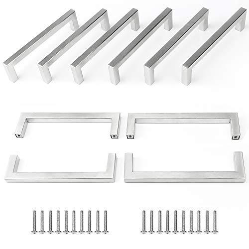 10 Stück Yorbay Edelstahl Möbelgriffe 128mm Mehrweg, Silber (Rohr-Durchmesser:10 x 10 mm)