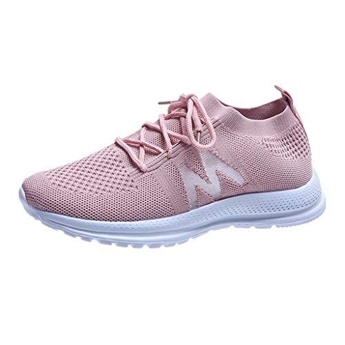 HDUFGJ Turnschuhe Damen Laufschuhe Atmungsaktiv Leichtgewichts Schnürer Sportschuhe Straßenlaufschuhe40(Rosa)