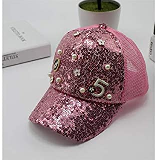 Baby Decoration Hat Pearl Sequin Kids Baseball Cap Children Breathable Baseball Cap Sun Visor for 1-6 Years Old(Pink) Cute Cap (Color : Pink, Size : 48-52cm)
