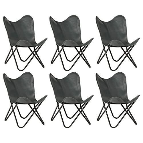 Sillas de Mariposa 6 Piezas, Juego de sillas de Comedor, sillón de salón Industrial, cómodo sillón reclinable Retro, Gris, tamaño Infantil, Cuero Real