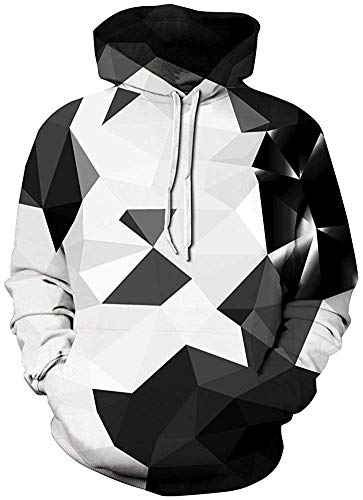 Pandolah Men's Patterns Print Athletic Sweaters Fashion Hoodies Sweatshirts (S/M, Crystal-2)