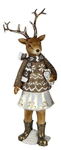 dekojohnson decoratief hert kerstdecoratie hertenfiguur-meisje decoratief rendier nostalgische decoratie sculptuur in beige bruin 30 cm groot