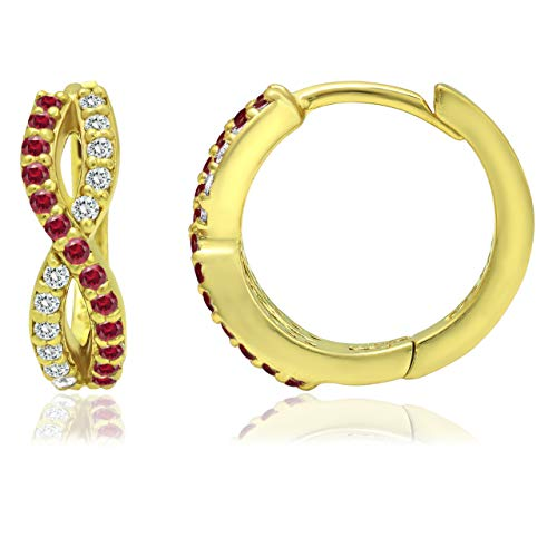 Yellow Gold Flashed Silver Created Ruby & White CZ Infinity Twist Braid Huggie Hoop Earrings for Women Girls, 15mm Diameter