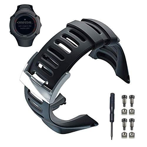 Correa de reloj Suunto Ambit, correa de reloj de repuesto de goma negra suave Accesorio de reloj para Suunto Ambit 1/2 / 2S / 2R / 3 Sport / 3 Run / 3 PEAK, herramienta gratuita y tornillos incluidos