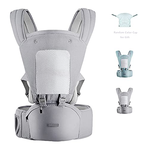 YIYUNBEBE 3-in-1 Baby Carrier with Hip Seat, Baby Sling Ergonomic Soft Breathable, Baby Carrier Wrap for Outdoor Traveling (NewGrey)