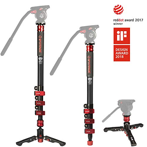 "IFOOTAGE Video Monopod Professional 71"" Aluminum Telescopic Monopods with Folding Three Feet Support Base Compatible for DSLR Camcorders"