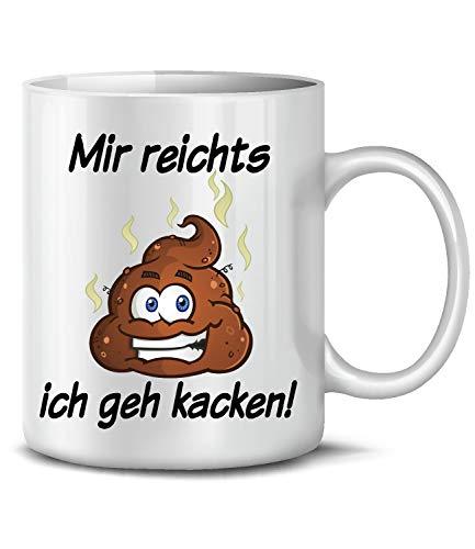 Golebros Fun Kaffeetasse Mir reichts ich GEH kacken 6322 Tasse Becher Kaffeebecher Beruf Job Arbeit Handwerker Arbeitskollege furzen pupsen scheißen Love Weiss