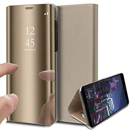 DOHUI Handyhüllen für Sony Xperia Pro Hülle, Spiegel PU Flip Tasche Kratzfeste Magnetic Lederhülle Etui mit Standfunktion,Schutzhülle für Sony Xperia Pro Hülle Cover (Gold)