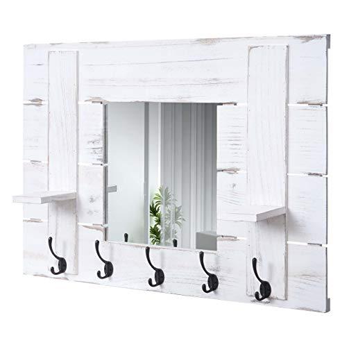 Mendler Wandgarderobe HWC-C89 mit Spiegel, Garderobenpaneel Garderobe, Shabby-Look Vintage, 5 Haken 90x60cm - weiß, Shabby