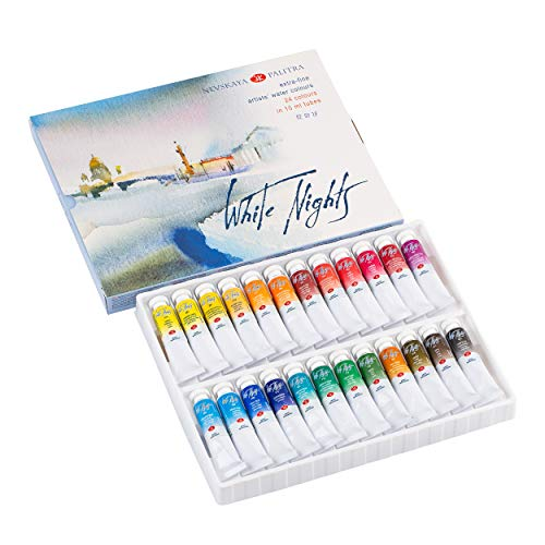 Artist Watercolor Paint Set 24 Tubes Colors White Nights Nevskaya Palitra