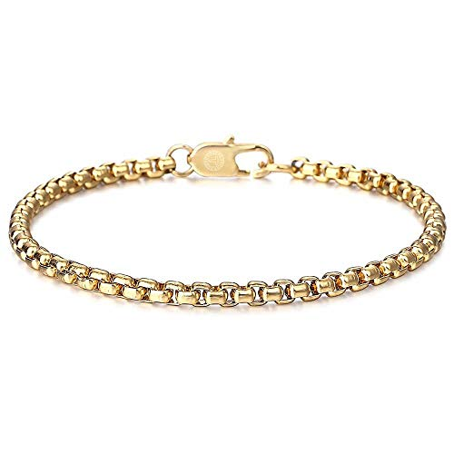 No/Brand Pulseras de plata de 4 mm de acero inoxidable pulsera de eslabones pulsera de joyería para hombres mujeres pulseras negro color plata caja de acero inoxidable pulsera de eslabones joyería