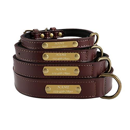 Mogokoyo Personalisierte gepolstert Hundehalsband aus Weichem Vollrindleder Retro Welpenhalsband mitName/Telefonnummer Gravur für Haustier Pet (L für Halsumfang 35-45cm)