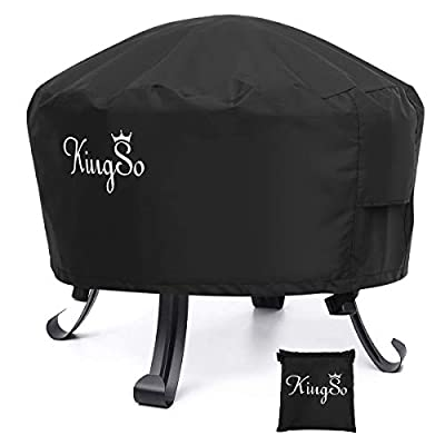 "KINGSO Outdoor Fire Pit Cover Round 26"" Waterproof 600D Heavy Duty Patio Fire Bowl Cover with Buckles, Drawstring Closure & 2 Air Vents Thick PVC Coating Firepit Cover All-Season Protection"