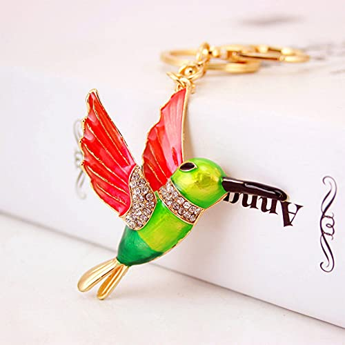 TOBENOI Bonito Llavero de pájaro Carpintero para Mujer, Llavero Decorado con Diamantes de imitación, Bolso, Colgante, Regalo para Mujer