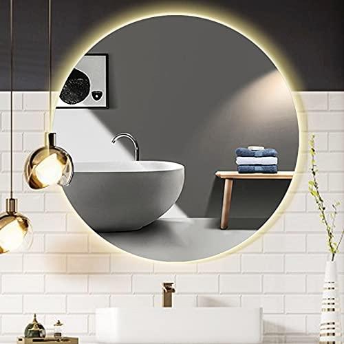 Qutech Espejo De Baño D 60x60 Cm, Espejos De Tocador Redondos con Retroiluminación LED Espejo De Maquillaje, Moderno Espejos De Vanidad Iluminado Montado En La Pared, Utilizado para Hotel Familiar