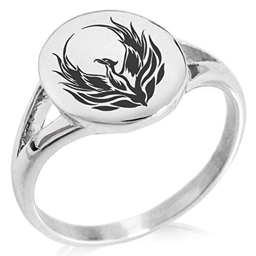 Tioneer Stainless Steel Greek Mythology Phoenix Symbol Minimalist Oval Top Polished Statement Ring, Size 10