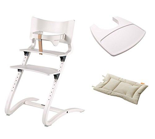 Leander Stuhl weiß - Hochstuhl - Kinderstuhl - Erwachsenenstuhl mit Babybügel + Tablett weiß + Kissen vanille