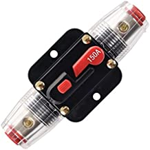 ANJOSHI 150A Fuse Holders Inline Circuit Breaker for Car Audio and Amps Overload Protection Reset Fuse Inverter 12V-24V DC Replace Fuses
