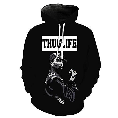 DS 2Pac Kapuzenpullover für Herren Hoodie Tupac Thug Life 3D Digitaldruck Pullover Plus Size Sweatshirt Langarm Pullover Mit Großer Tasche Schwarz S-4XL