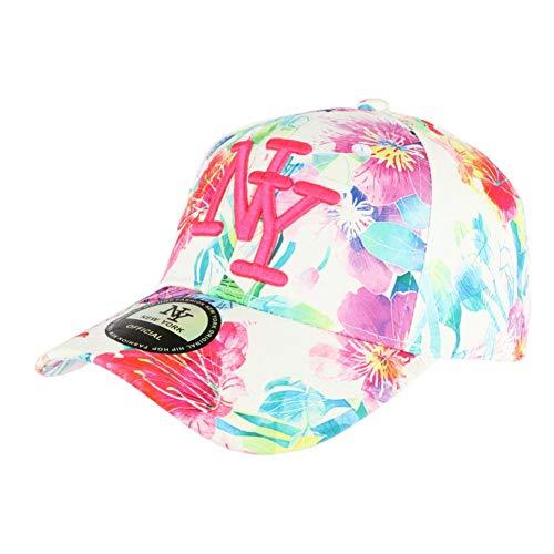 Gorra NY blanca y rosa con flores béisbol Fashion Bali – Unisex rosa Talla única