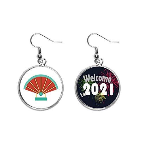 Fan-Porzellan-Muster, Art-Deco-Geschenk, modische Ohrringe, Schmuck 2021 Segen