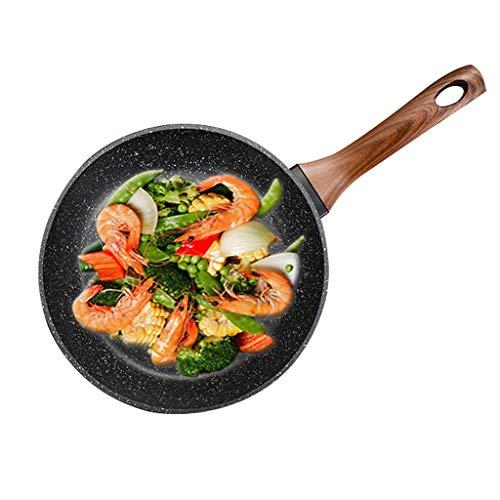 Flat Bottom Frying Pan|Multifunctionele Aluminium Skillet|Non-slip Wok | met Bakelite Handvat|Gemakkelijk te reinigen|Geschikt voor alle inductie kookplaten AAA~ 24cm