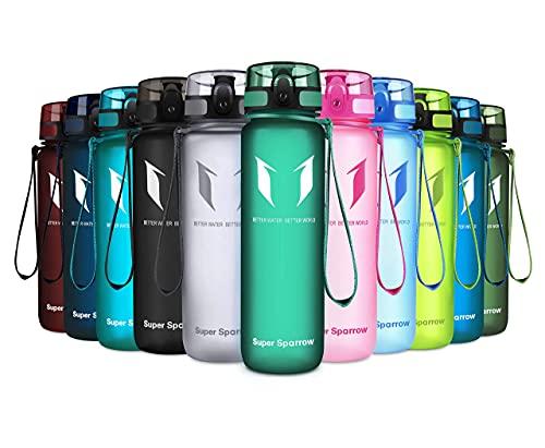 Super Sparrow Trinkflasche - Tritan Wasserflasche - 500ml - BPA-frei - Ideale Sportflasche - Schnelle Wasserdurchfluss, Flip Top, öffnet Sich mit 1-Click