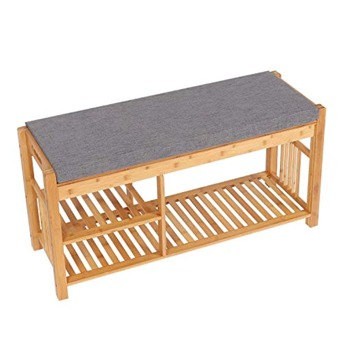 Has_Shop 3 Tier Shoe Boot Rack Storage Shelf Bamboo Bench Tower Organizer w/Padded Seat