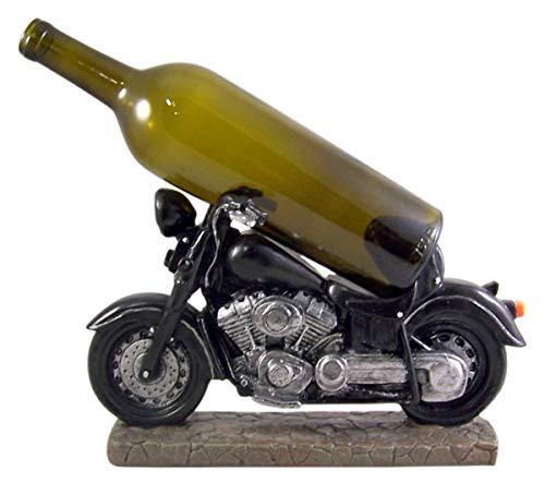 Black Motorcycle Biker Themed Tabletop Wine Bottle Holder, 12 1/2 Inches
