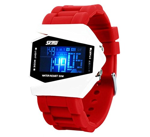 Led Pilot Watch pour les garçons et les filles Fashion Casual Kids Montres Hommes Femmes Montres-bracelets électroniques Relogio Reloj Led , red