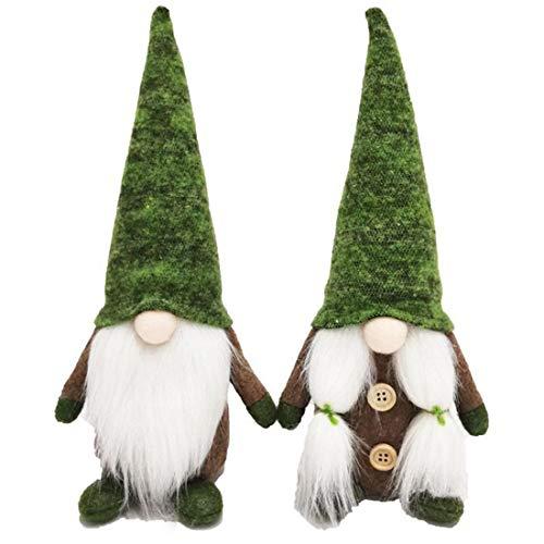 REYOK 2 Stück Weihnachten Deko Wichtel, Weihnachten Puppe Weihnachten Deko Wichtel Handgemachte Wichtel Figuren Weihnachten Deko, Skandinavischer Zwerg Geschenke für Kinder Familie Weihnachten,(Grün)