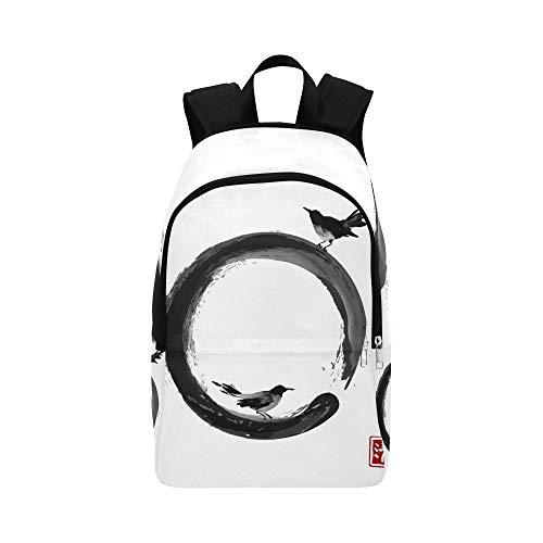Dos Black Birds Black Enso Zen Casual Daypack Bolsa de Viaje Mochila Escolar para Hombres y Mujeres