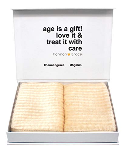 Hannah Grace anti-aging gentle face exfoliator washcloth. Promotes healthy, smooth, luminous skin - Exfoliating face towel - 2 Pack natural purifying face washcloths - 100% 6A mulberry silk(Champagne)
