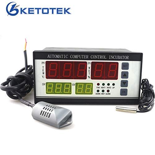 KETOTEK Controladores automático de incubadora Digital Huevos girando Controladores de temperatura y humedad Termostato de higrostato con sensor de temperatura