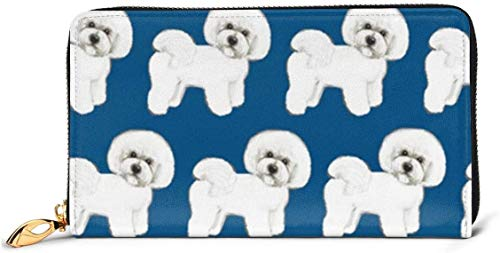 naotaori Cartera de Mujer Blue Bichon Frise Fabric Large Capacity Genuine Leather...