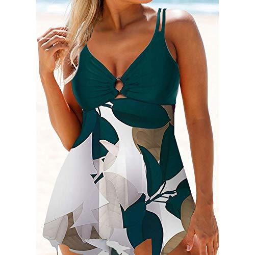 Bikini de una sola pieza para mujer, push-up, falda de natación con volantes, estilo retro, acolchado al cuello, tankini verde XL