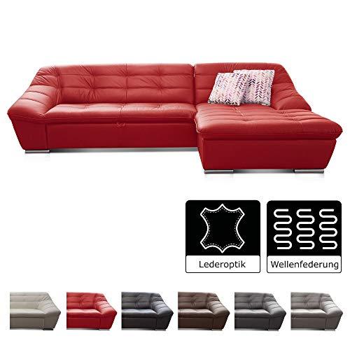 Cavadore Ecksofa Lucas / Couch in Lederoptik mit Steppung / Longchair rechts / 287 x 81 x 165 (BxHxT) / Kunstleder rot
