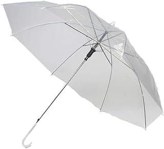 Kurop 2 pack Clear Transparent Rain Umbrella Parasol (White 2 pack)