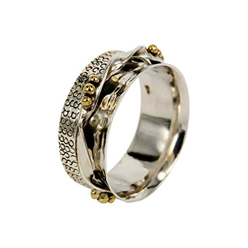 925 Sterling Silver and Brass Two Tone Metal Meditation Spinner Ring Fidget Anxiety Relief Ring Wide Band, Anti Stree Ring, Worry Ring, Spinning Ring - Ring Size US7