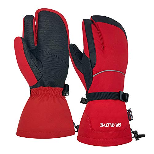 FIDESTE Waterproof Ski Mittens, Winter Warm Snow Mitts for Men & Women-Touch Screen Snowboard gloves Designed for Skiing, Snowboarding, Shoveling&Other Outdoor Sport (XL, Red)