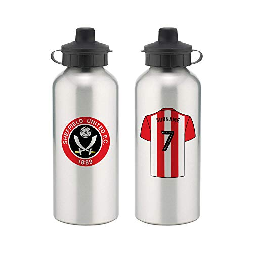 Official PERSONALISED Sheffield United FC Aluminium Water Bottle with Spring Hook (600ml) - SILVER/WHITE