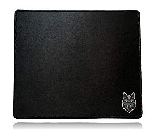 SoloQ Standard Size Gaming Mouse Pad - Anti Slip Rubber Base - Stitched Edges - Large Desk Mat - 13' x 11' x 0.16' (Standard, Black with Blue Logo)