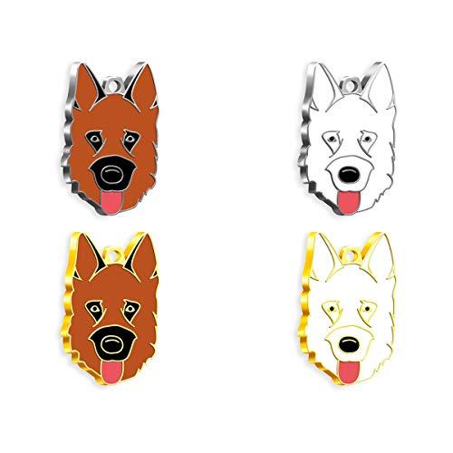 Pet Tag Art German Shepherd Médaillon d'Identification en Forme de Patte Personnalisable pour Chiens et Chats - Gravée