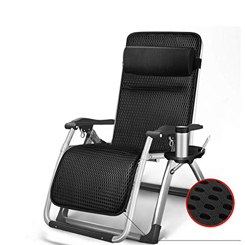 WGFGXQ Garden Lounge Chair Portable Zero Gravity Recliner Swimming Pool, Camping Multi-Function Tray Rack Comfortable Cushion Support 200kg