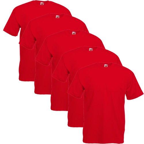 Fruit of the Loom Herren T-Shirt 5 er PackRegular Fit 11182V, Rot - Rot, M