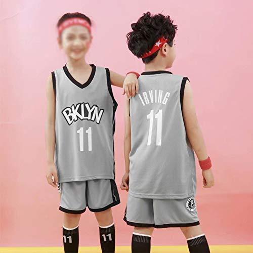 SHR-GCHAO Adultos Y Niños De Baloncesto Jersey - NBA Brooklyn Nets 11# Deporte De Baloncesto Kyrie Irving Jersey Chaleco Deportes Camiseta, Gris,5XL(Adult