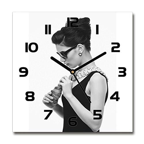 Tulup Reloj De Pared De Vidrio 60x60cm Silenciosa Moderno Grande Original Decorativo Manecillas Negras - Mujer En Vidrios